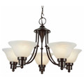 "Perkins Perkins 24"" Bronze Modern Chandelier with Marbelized Glass Shades"