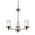 "Fusion Fusion 22"" Brushed Nickel Contemporary Chandelier with Frosted Glass and Metal Trim"