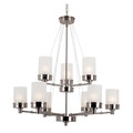 "Fusion Fusion 32"" Brushed Nickel Contemporary Chandelier with Frosted Glass and Metal Trim"