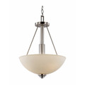 "Mod Pod 15.75"" Indoor Brushed Nickel Modern Pendant with White Frost Glass Shades"