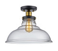 "Jackson 13.5"" Indoor Rubbed Oil Bronze Industrial Semiflush with Vintage Style Clear Glass Shade"