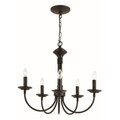 "Candle Collection 19"" Indoor Black Colonial Chandelier"
