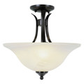 "Aspen 15"" Indoor Rubbed Oil Bronze Transitional  Semiflush with Mini Chandelier Branched Arms"