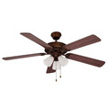 "Spottswood Spottswood 52"" Indoor Rubbed Oil Bronze Traditional Ceiling Fan with Glass Shade & Reversible Blades"