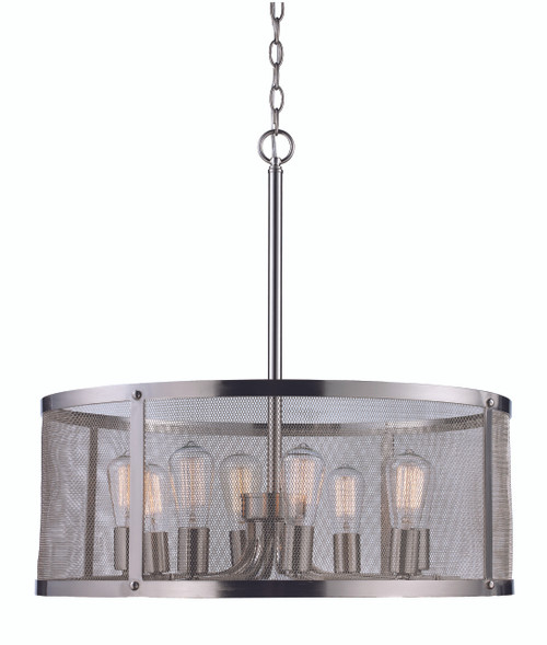 """Mesh 24.75"""" Industrial Brushed Nickel Pendant with Cylindrical Shade - Perfect for Vaulted Ceilings"""