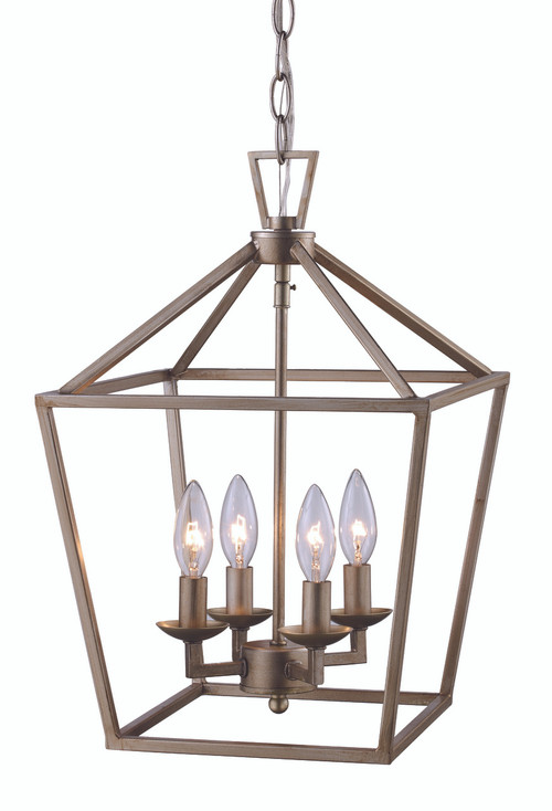 """Lacey 12"""" Indoor Antique Silver Leaf Colonial Pendant with Open Birdcage Style Shade"""