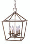 "Lacey 12"" Indoor Antique Silver Leaf Colonial Pendant with Open Birdcage Style Shade"