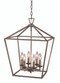 "Lacey 16"" Indoor Antique Silver Leaf Colonial Pendant with Open Birdcage Style Shade"