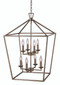 "Lacey 19"" Indoor Antique Silver Leaf Colonial  Pendant with Open Birdcage Style Shade"