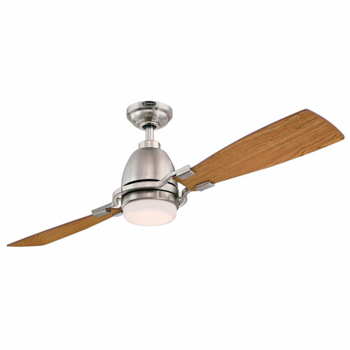 Westinghouse 7217700 Longo 54-Inch Brushed Nickel Indoor Ceiling Fan, Dimmable LED Light Kit with Frosted Opal Glass, Remote Control Included