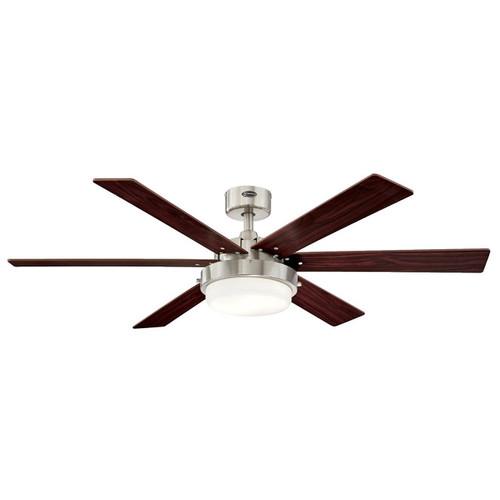 Westinghouse 7205100 Contemporary Alloy II 52 inch Brushed Nickel Indoor Ceiling Fan, Led Light Kit with Opal Frosted Glass