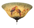 """Fanimation G439 13"""" Glass Bowl in Hand-Painted Parrot"""