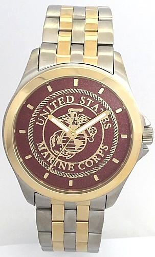 Steel/Gold Marine Corps Watch Dark Red Dial