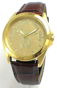 Gent's Leather Strap Citizen Shriner Watch Gold Dial