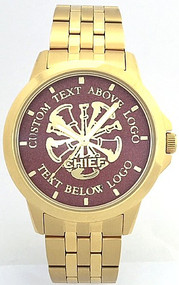 All Gold Citizen Firefighter Watch Dark Red Dial