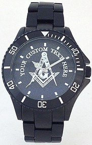 Custom Masonic Square & Compass Watch Black Aluminum Black Dial