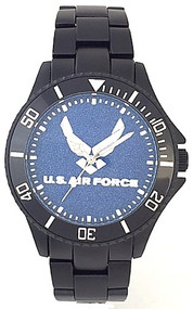 US Air Force Watch Black Aluminum Blue Medallion Dial