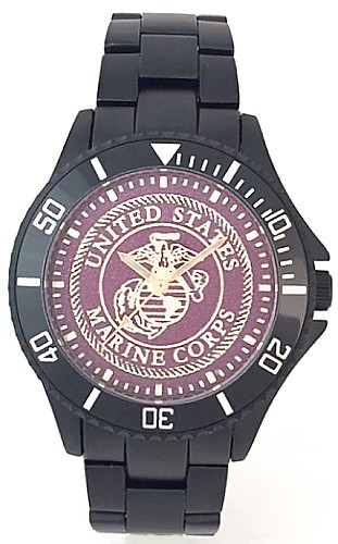 US Marine Corps Watch Black Aluminum Dark Red Medallion Dial/Gold Logo