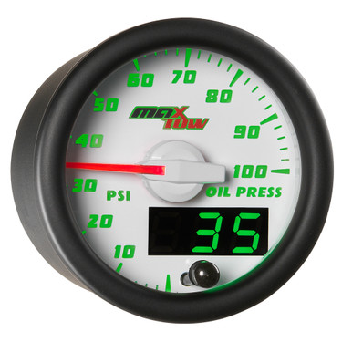 White MaxTow Double Vision Oil Pressure Gauge
