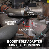 Boost Gauge Bolt Adapter Installed for 6.7L Cummins