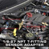 1/8-27 NPT T-Fitting Sensor Thread Adapter Installed