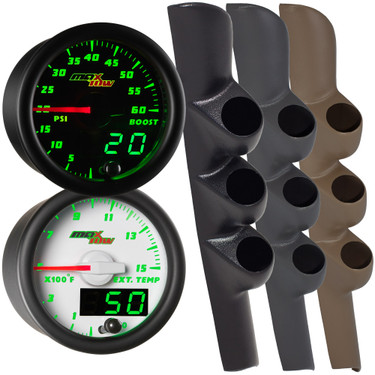 Green MaxTow Triple Gauge Package for 1998-2002 Dodge Ram Cummins