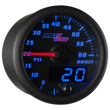 Blue MaxTow 60 PSI Diesel Boost Gauge