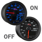 Black and Blue MaxTow Double Vision Oil PSI Gauge On/Off