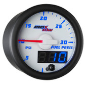 White & Blue MaxTow Double Vision 30 PSI Fuel Pressure Gauge