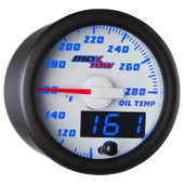 White & Blue MaxTow Double Vision Oil Temperature Gauge