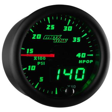Black & Green MaxTow High Pressure Oil Pressure HPOP Gauge
