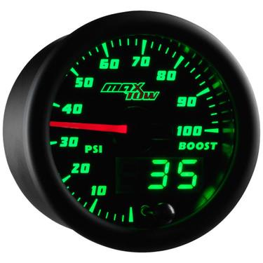 Black MaxTow Double Vision 100 PSI Diesel Boost Gauge