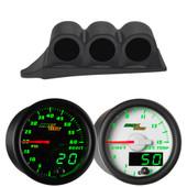 Green MaxTow Triple Dashboard Gauge Package for 1999-2007 Ford Super Duty Power Stroke