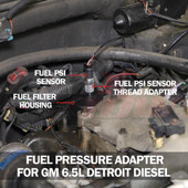 Fuel Pressure Thread Adapter for GM 6.5L Turbo Diesel Installed