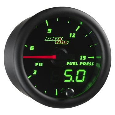 Black MaxTow Double Vision 15 PSI Fuel Pressure Gauge
