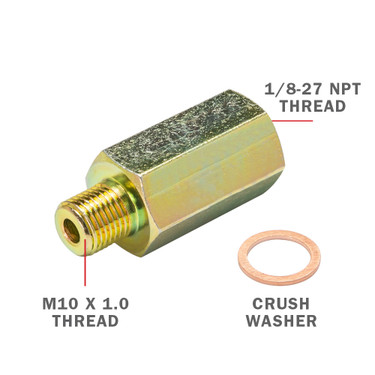 Transmission Test Port Adapter with M10 Thread, 1/8-27 NPT Thread & Crush Washer