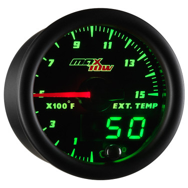 Black MaxTow Double Vision 1500 F Pyrometer / EGT Gauge