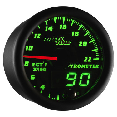 Black MaxTow Double Vision 2200 F Exhaust Gas Temperature Gauge