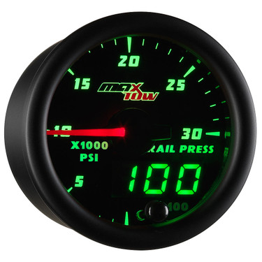 Black MaxTow Double Vision 30,000 PSI Fuel Rail Pressure Gauge
