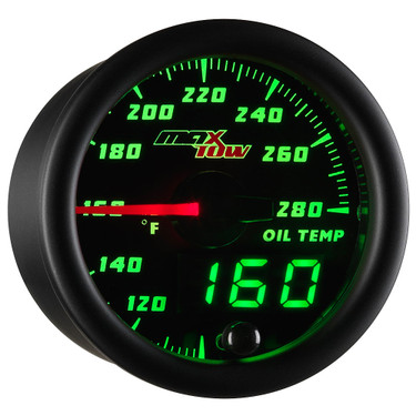 Black MaxTow Double Vision Oil Temperature Gauge