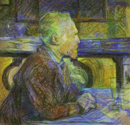 Vincent van Gogh drinking absinthe in a bar. This painting was made by Henri de Toulouse-Lautrec.