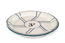 B-Stock, Porcelain Absinthe Coaster/Saucer, 3f, Blue/Silver, with Lines