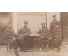 Antique Absinthe Photograph Postcard - WWI Soldiers at a Bistro table