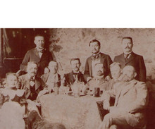 Antique Absinthe Photograph - Group of Men and a Little Girl at a Table