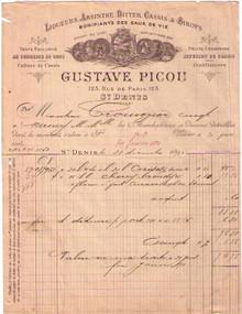 Gustave Picou Invoice
