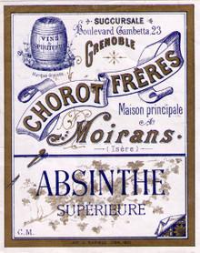 Antique Chorot Freres Absinthe Bottle Label