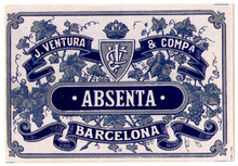 Antique Absenta Barcelona Absinthe Bottle Label