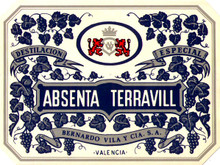 Antique Absenta Terravill Absinthe Bottle Label