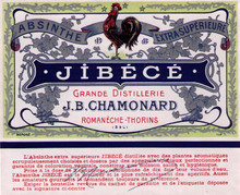 Antique Jibece Absinthe Bottle Label
