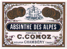 Antique Comoz Absinthe Bottle Label
